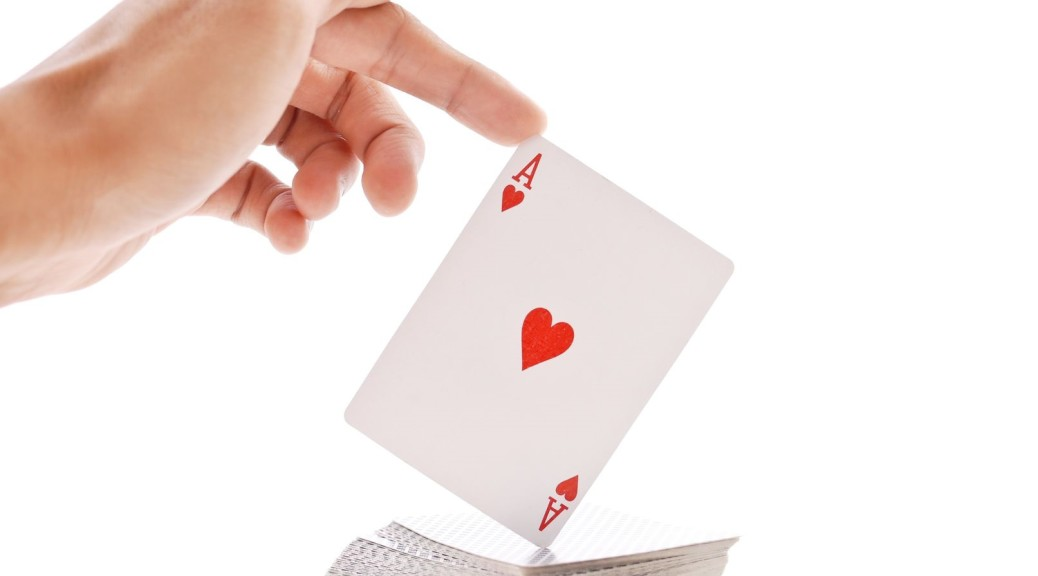 card ace with hand