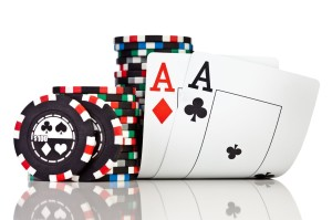 pocker chips and aces